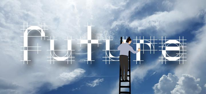 Blue sky background with a person standing on a ladder, creating the words 'future'