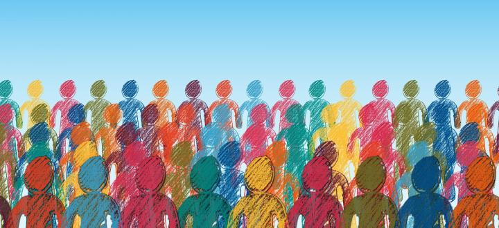 Illustration of people in many different colours of the rainbow standing side by side with a blue gradient background