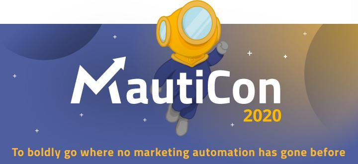 An illustration of Astromaut flying through the sky promoting MautiCon 2020