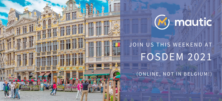 Image of the Grand Place, Brussels with text overlaid on a purple panel saying 'join us this weekend at FOSDEM 2021 online, (not in Belgium!)