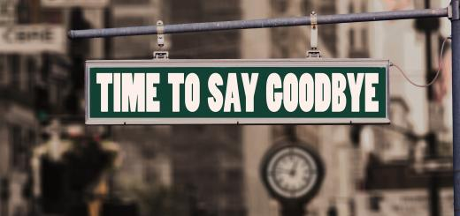 Photo of a street sign saying 'Time to say goodbye'
